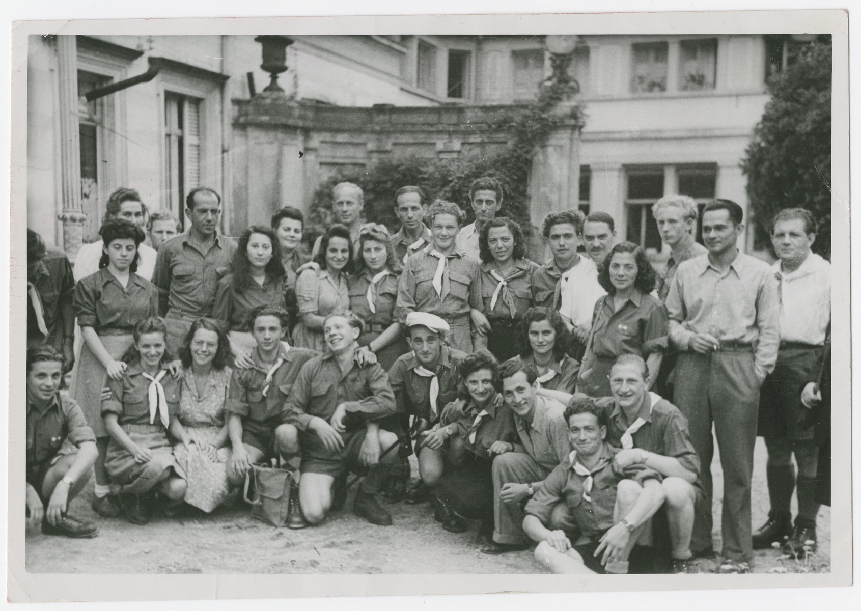 Group portrait of Zionist youth in Castella di Trevano  Most are members of Dror Habonim or Shomer Hatzair.