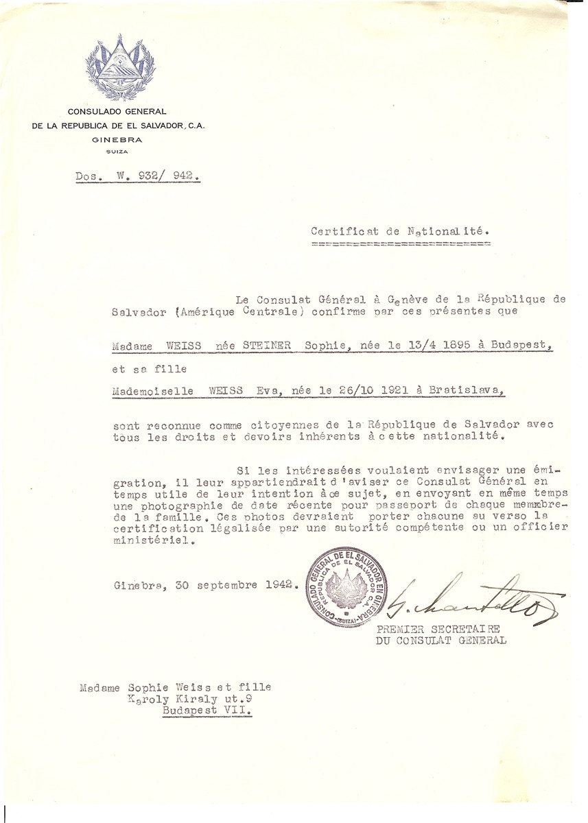 Unauthorized Salvadoran citizenship certificate issued to Sophie (nee Steiner) Weiss (b. April 13, 1895 in Budapest) and her daughter Eva (b. October 26, 1921) by George Mandel-Mantello, First Secretary of the Salvadoran Consulate in Geneva and sent to them in Budapest.