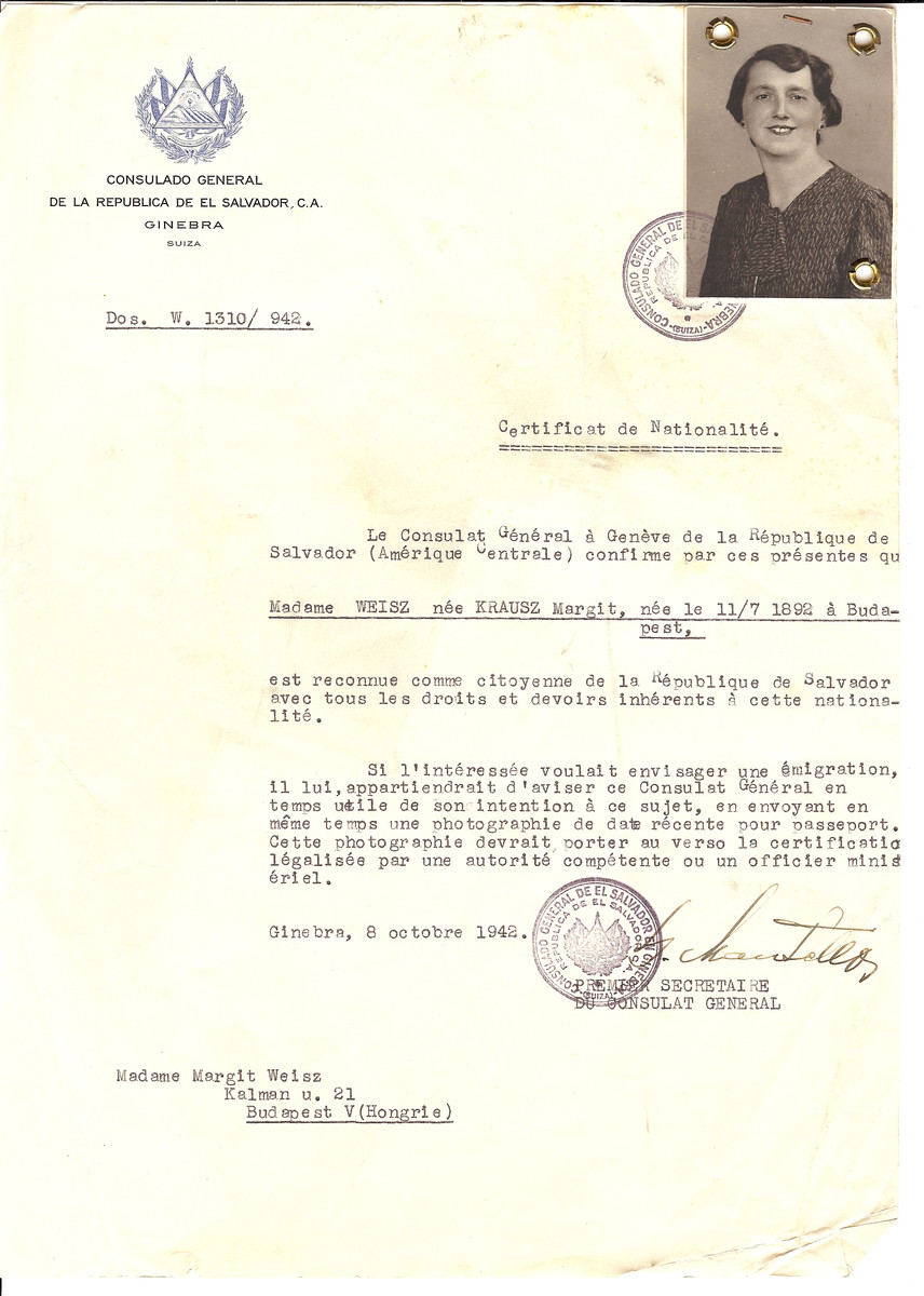 Unauthorized Salvadoran citizenship certificate issued to Margit (nee Krausz) Weisz (b. July 11, 1892 in Budapest) by George Mandel-Mantello, First Secretary of the Salvadoran Consulate in Geneva and sent to her in Budapest.