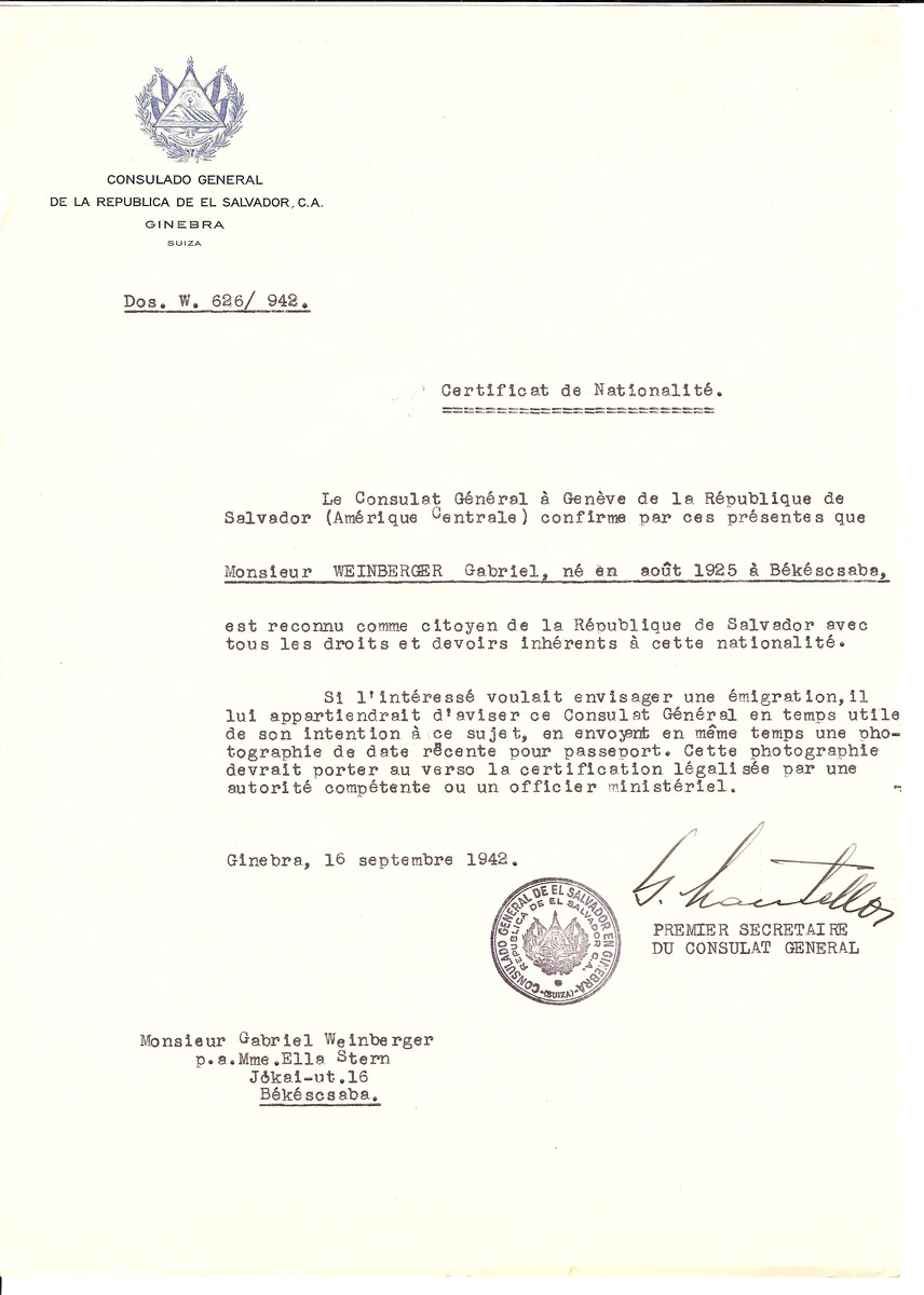 Unauthorized Salvadoran citizenship certificate issued to Gabriel Weinberger (b. August 1925 in Bekescsaba) by George Mandel-Mantello, First Secretary of the Salvadoran Consulate in Geneva and sent to him in Bekescsaba.