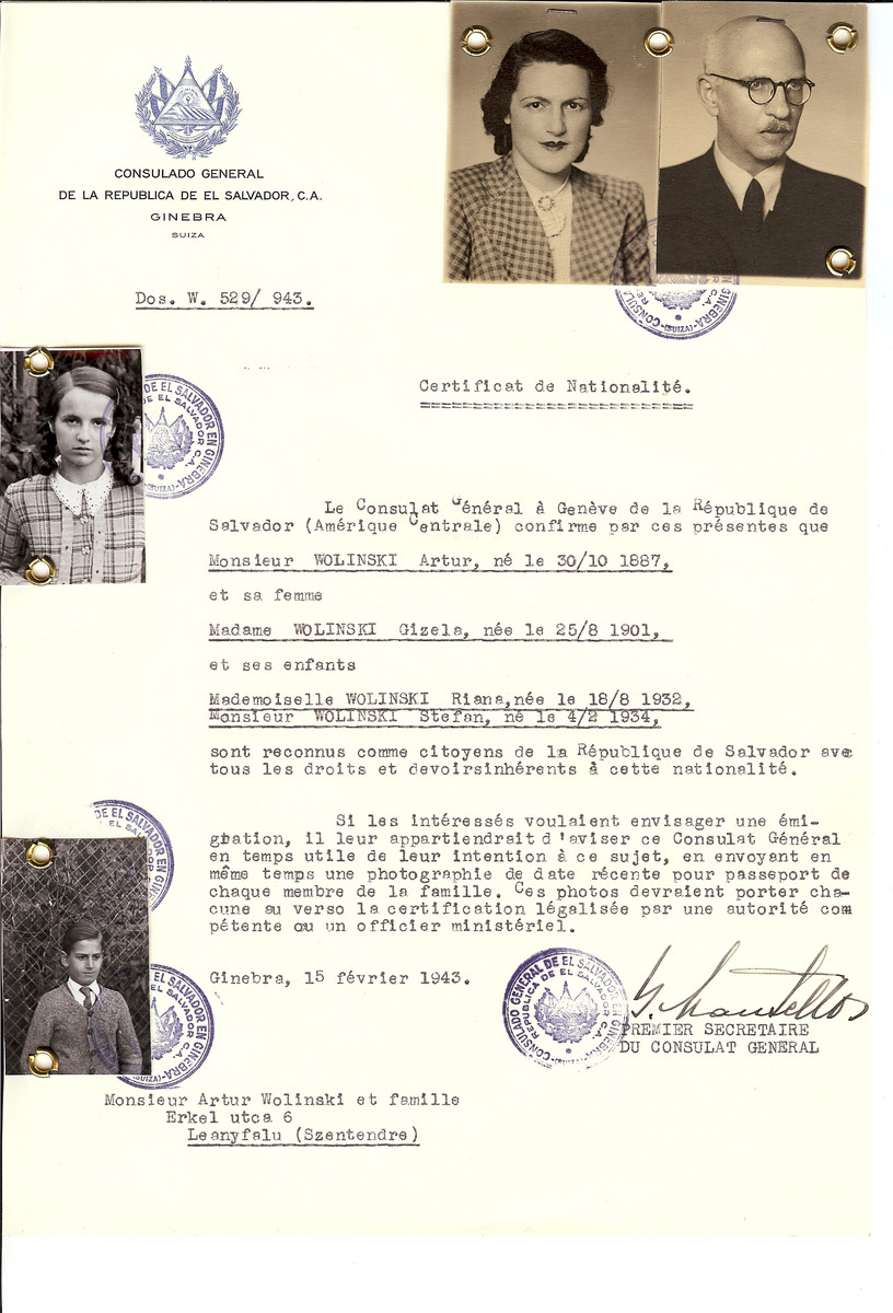 Unauthorized Salvadoran citizenship certificate issued to Artur Wolinsky (b. October 30, 1887), his wife Gizela Wolinski (b. August 25, 1901), and their children Riana (b. August 18, 1932) and Stefan (b. February 4, 1934) by George Mandel-Mantello, First Secretary of the Salvadoran Consulate in Geneva and sent to them in Szentendre.