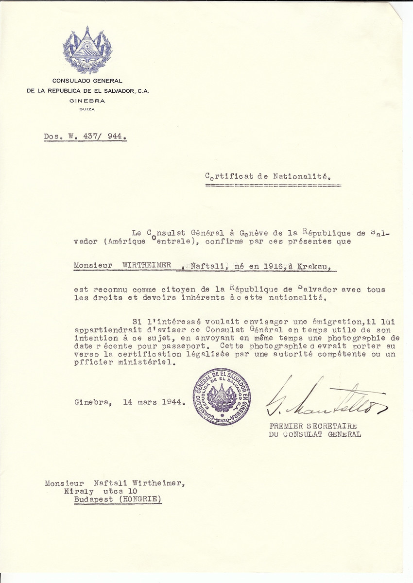 Unauthorized Salvadoran citizenship certificate issued to Naftali Wirtheimer (b. 1916 in Krakow) by George Mandel-Mantello, First Secretary of the Salvadoran Consulate in Geneva and sent to him in Budapest.