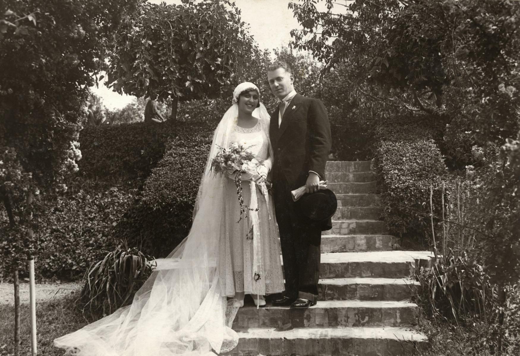 Wedding portrait of Klara Fejer and Alexander Steiner.