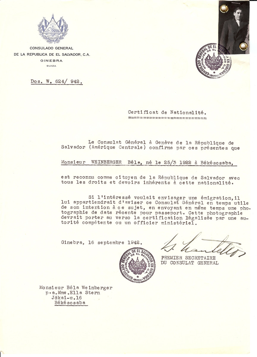 Unauthorized Salvadoran citizenship certificate issued to Bela Weinberger (b. March 25, 1922 in Bekeszsaba) by George Mandel-Mantello, First Secretary of the Salvadoran Consulate in Geneva and sent to him in Bekescsaba.