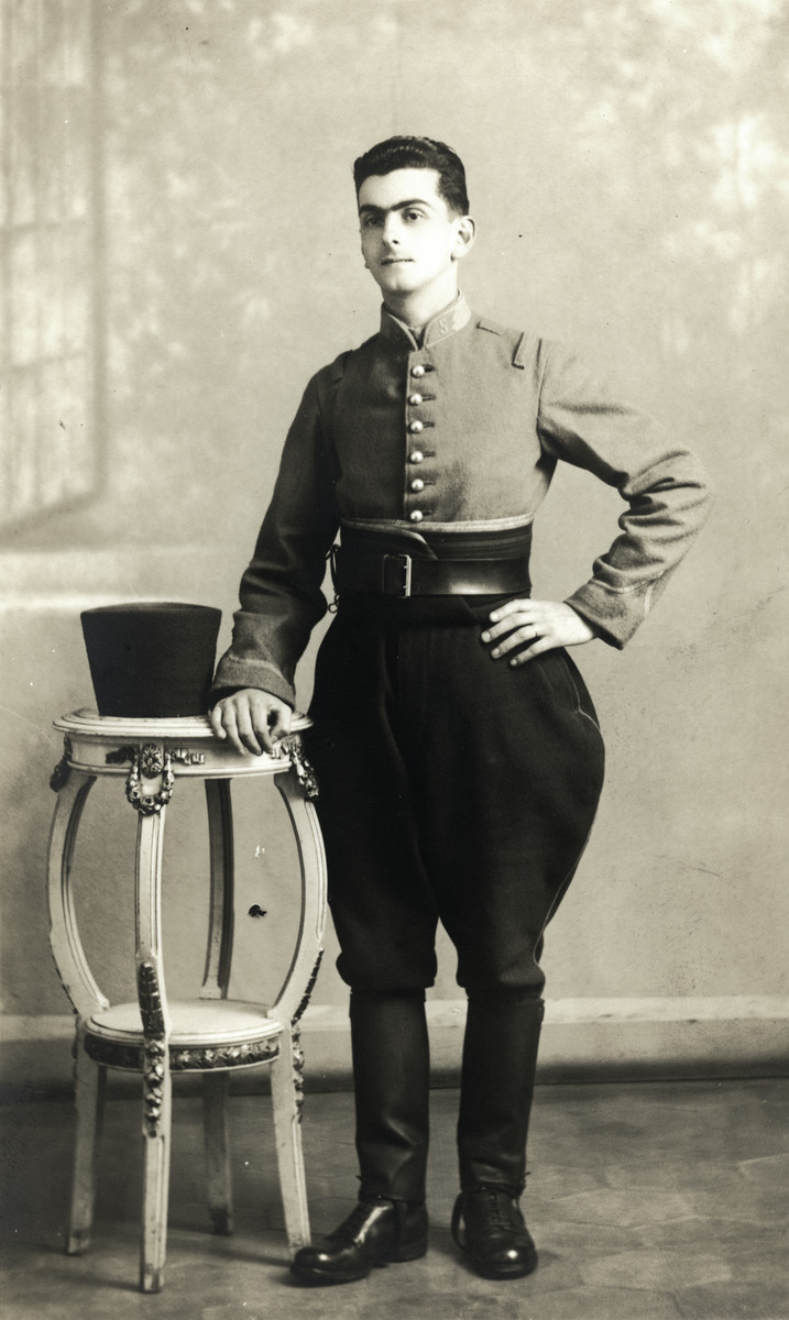 "Joseph Roger Cheraki poses in the uniform of an Algerian ""sous lieutenant."""