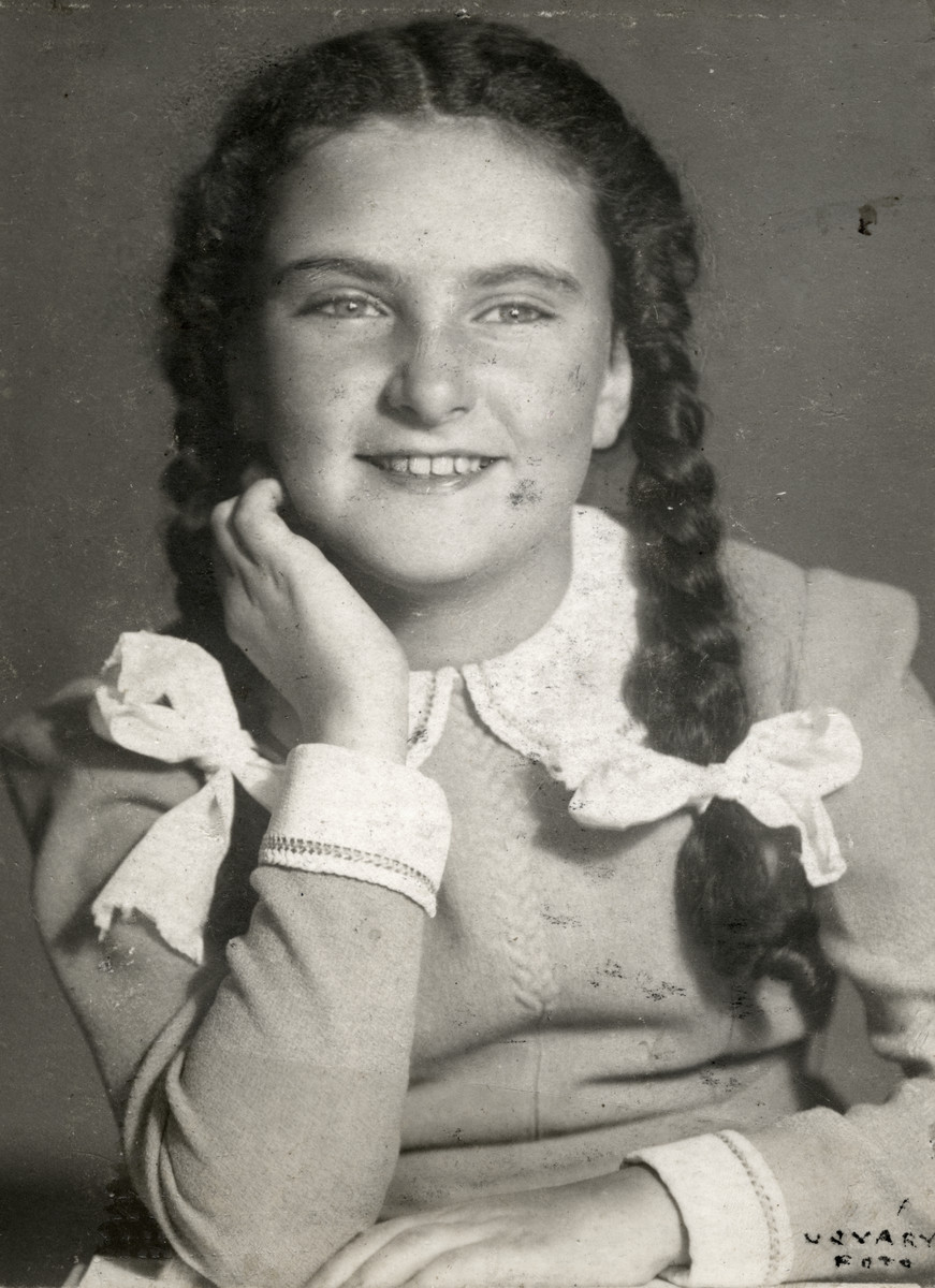 A studio portrait of Agnes Somlo in Budapest, Hungary.