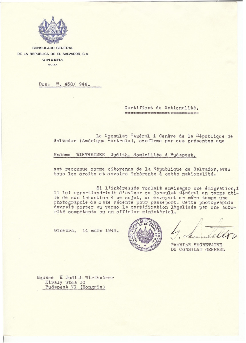Unauthorized Salvadoran citizenship certificate issued to Judith Wirtheimer by George Mandel-Mantello, First Secretary of the Salvadoran Consulate in Geneva and sent to her in Budapest.