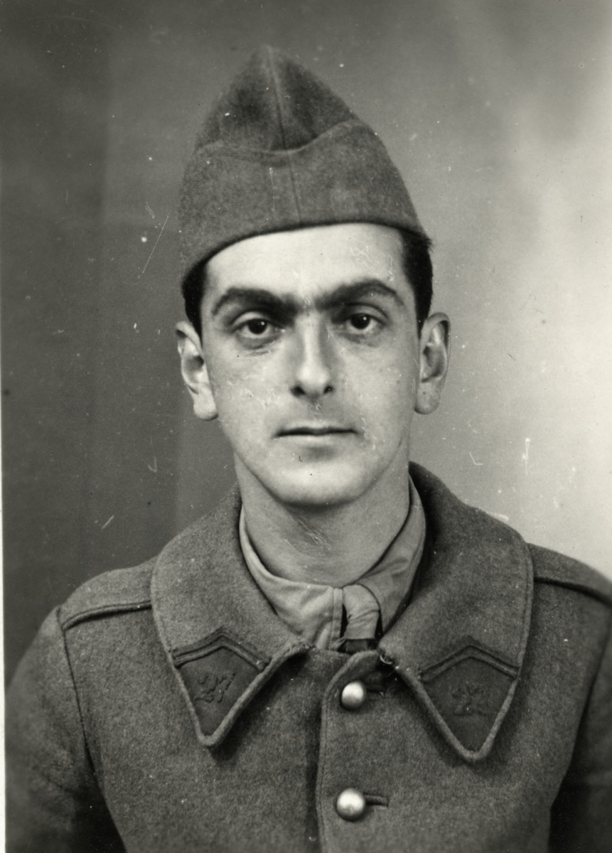 Studio portrait of Josef Roger Cheraki taken while he was enlisted for forced labour.