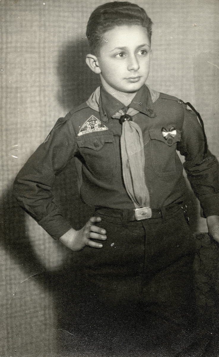 Studio portrait of Lazlo Gertler in a Hungarian scout outfit.