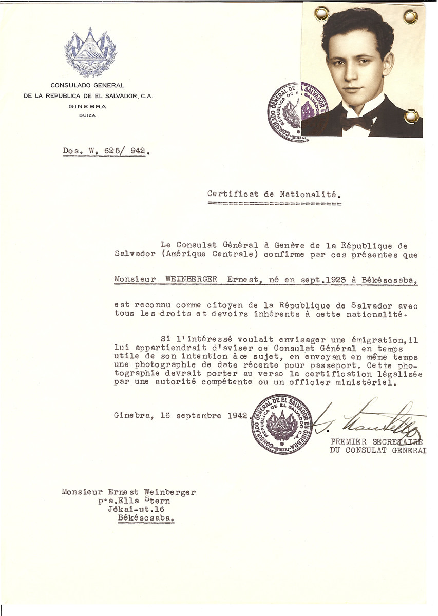 Unauthorized Salvadoran citizenship certificate issued to Ernest Weinberger (b. September 1923 in Bekescsaba) by George Mandel-Mantello, First Secretary of the Salvadoran Consulate in Geneva and sent to him in Bekescsaba.