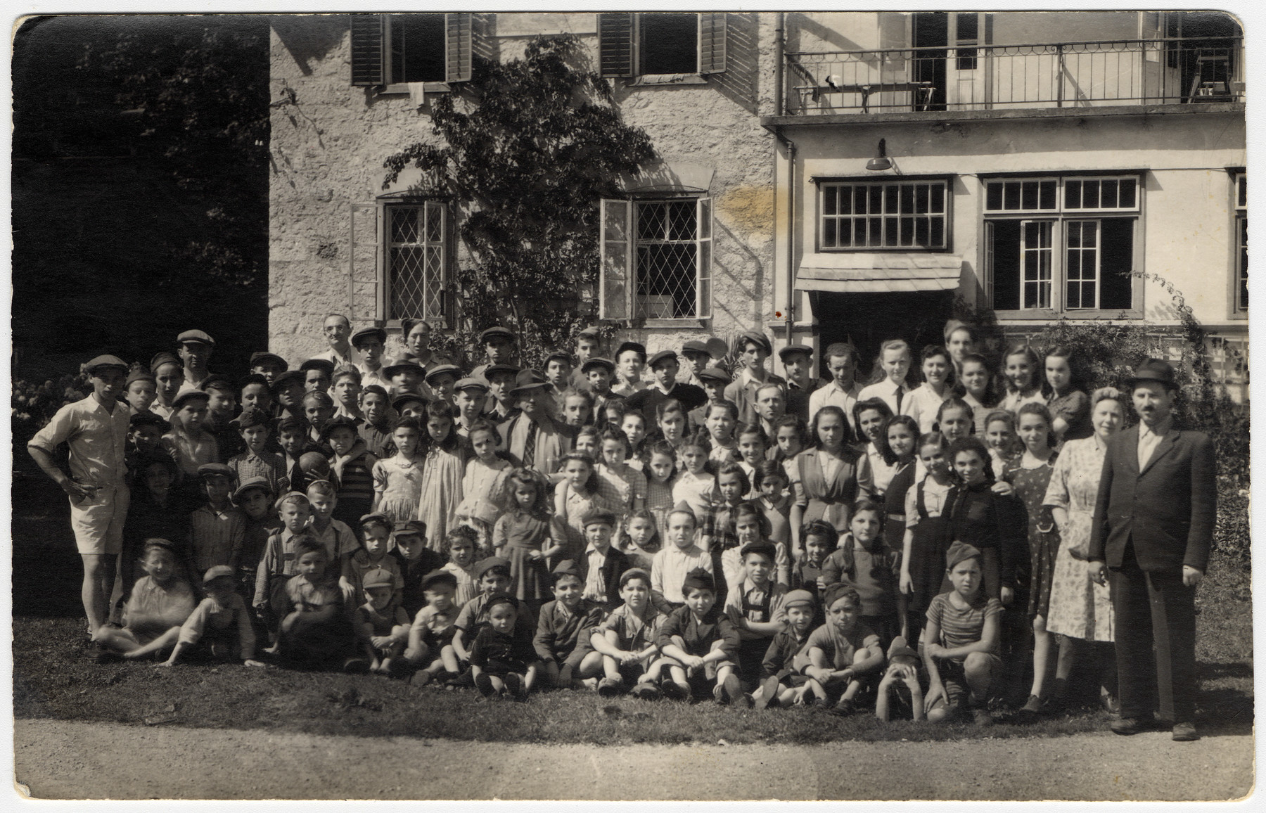 Group portrait of children in a religious home [probably in Bad Gastein].
