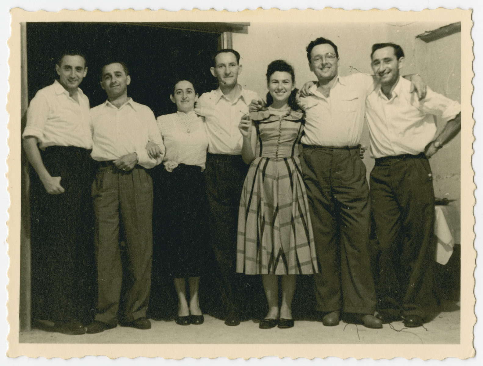 Reunion of former Mauritius detainees in Israel.  From left to right are Max Kopka, Hans Kornitzer, Rachel Makowski, Israel Makowski, Lily Rosenberg Haas, Avi Haas and Hersh Makowski.
