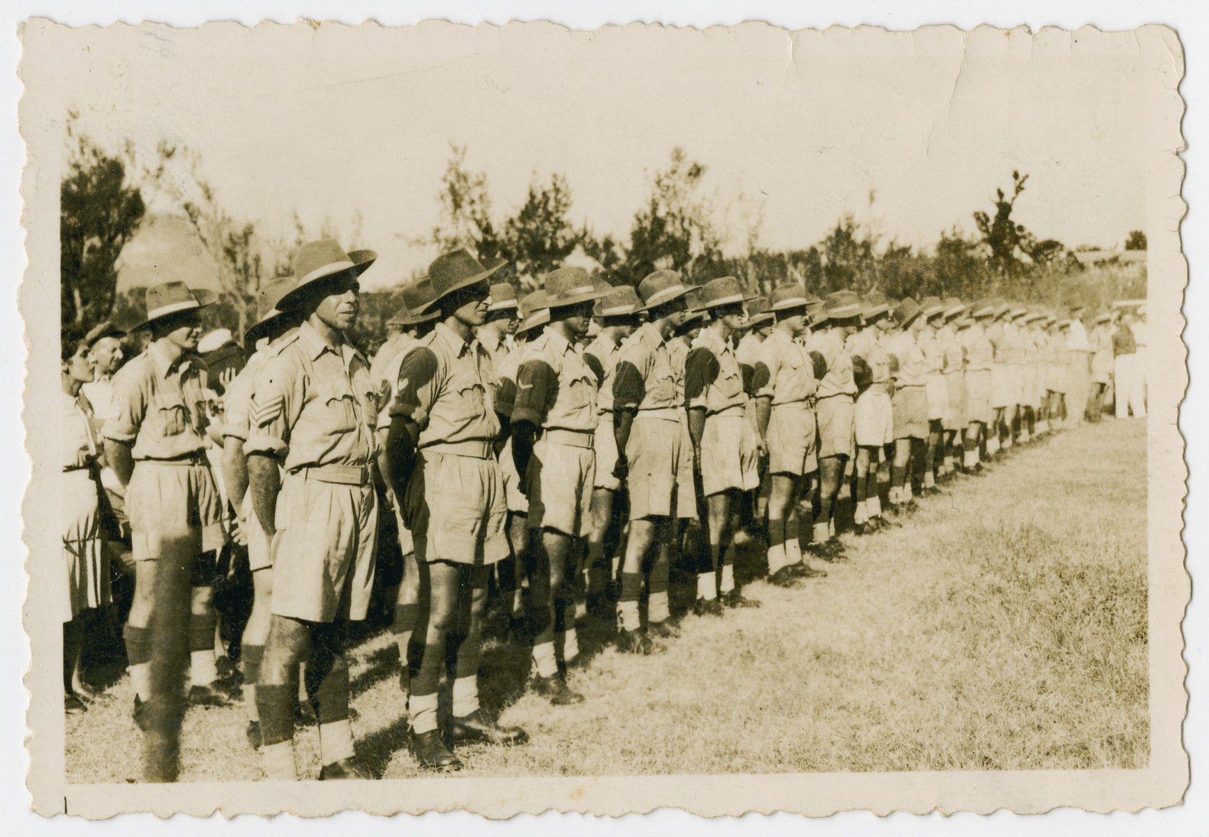 Jewish Brigade soldiers in Kenya line up for a roll call.  Among those pictured are Hersh and Israel Makowski, Werner Szerevski and Eric Gross.