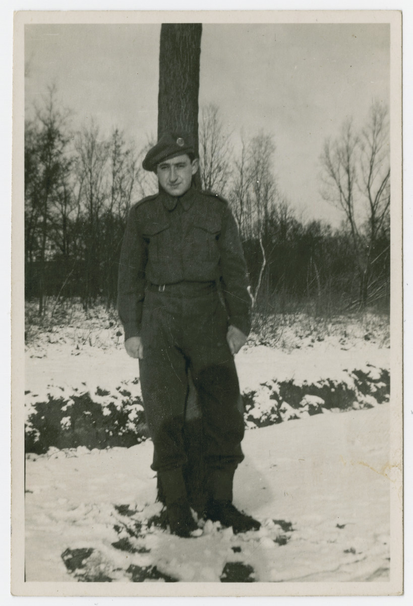 Jewish Brigade soldier Hersh Makowski poses in the snow in Holland.