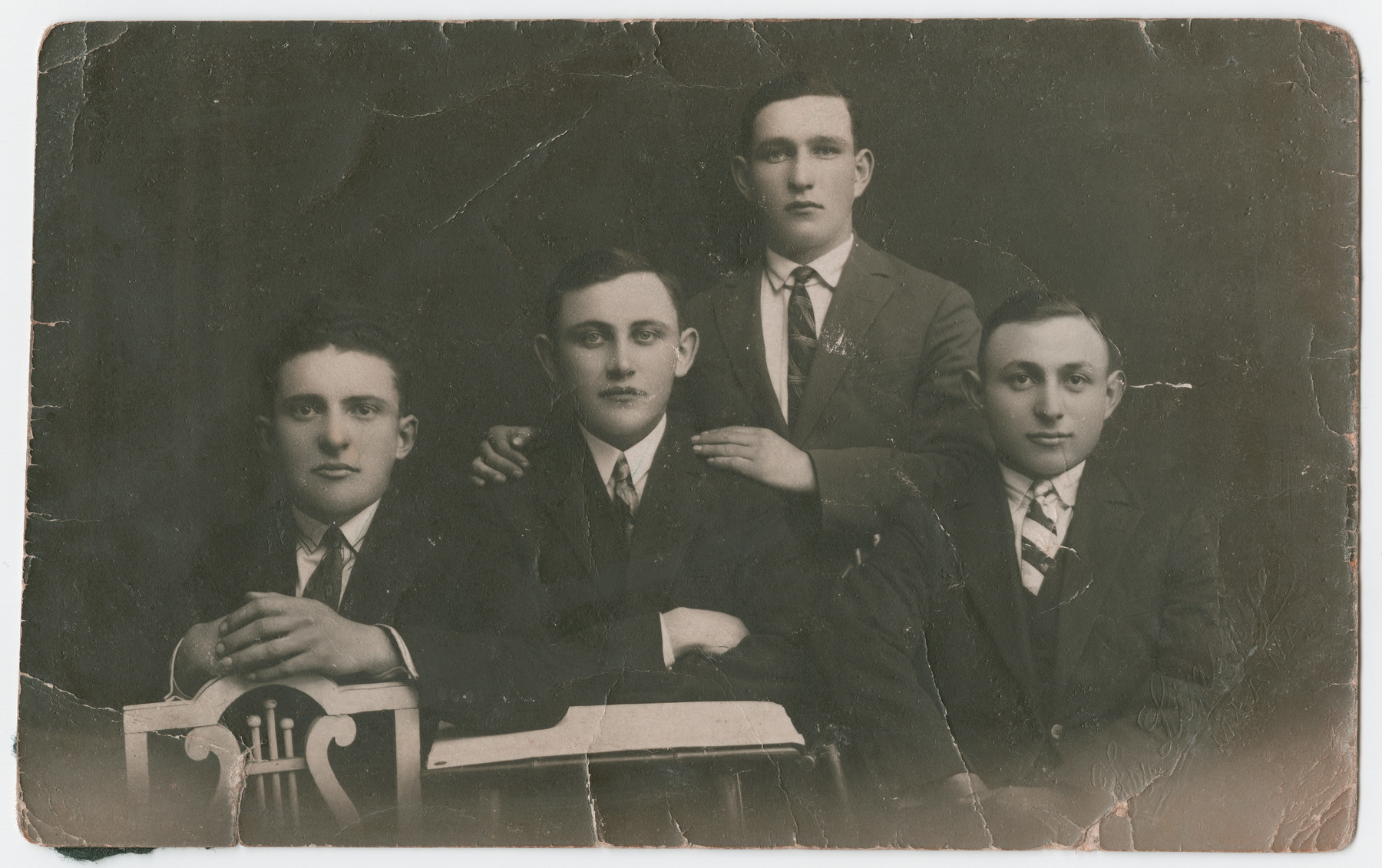 Left to right Lemmel Bernstein, Cheil Makowski, Shlomo Blum, Cheskel Kleinhaus.    Shlomo Blum was the only one to survive the Holocaust.