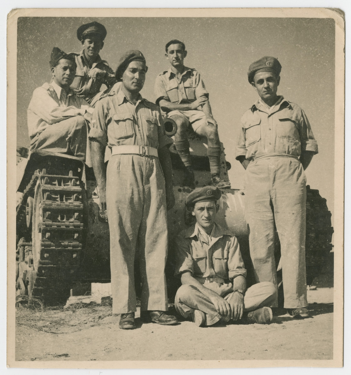 Jewish Brigade soldiers who had previously been interned on the Isle of Mauritius train in Egypt.  Among those pictured are Hersh Makowski, Israel Makowski, and Eric Gross.