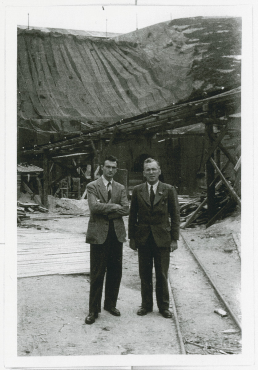 Roswell McClelland (left) and another gentleman visit the Mauthausen concentration camp.