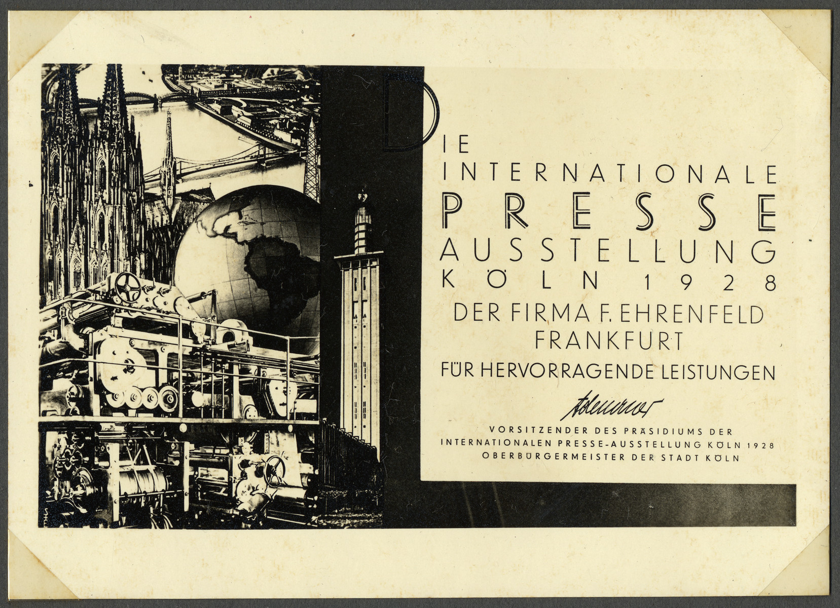 Certificate of award given to the Enrenfeld company for outstanding achievement by the International Press Exhibition and signed by Konrad Adenauer.
