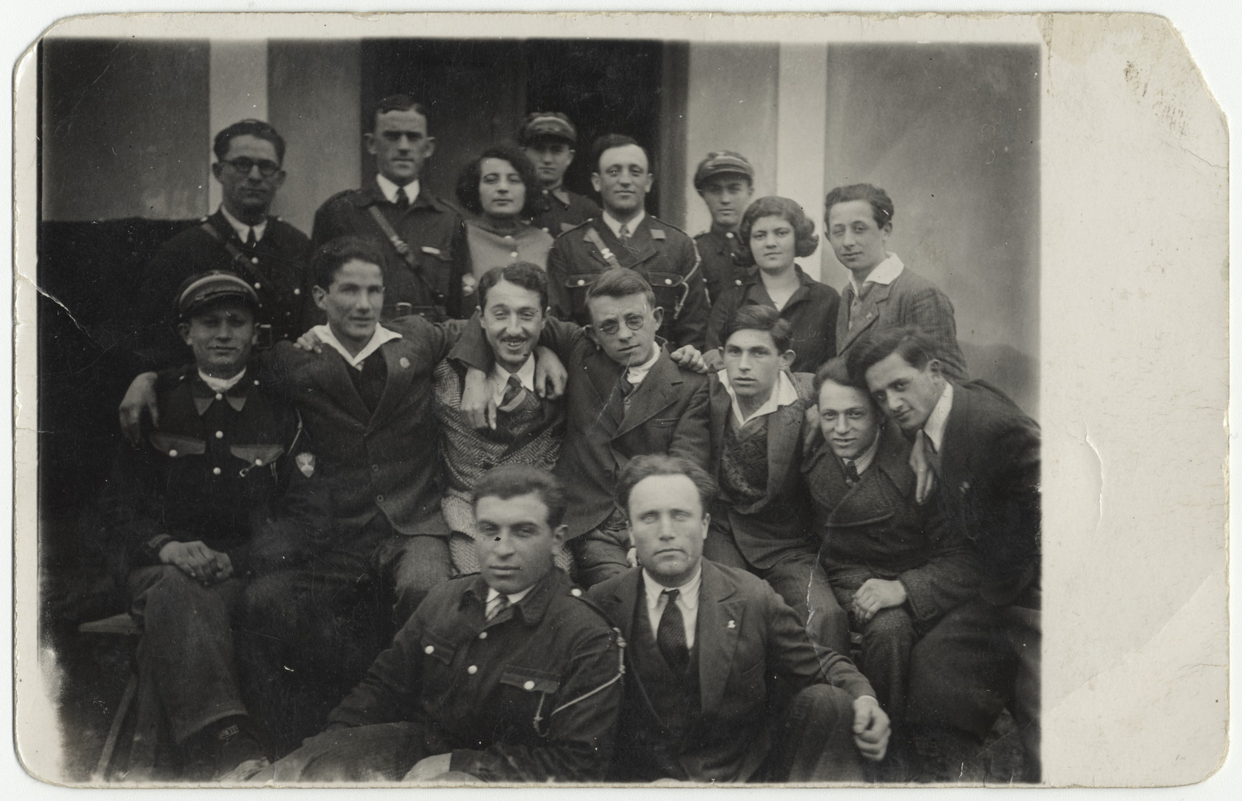 Group portrait of members of the Betar Zionist movement in prewar Uhnow  Among those pictured is Leo Beer.