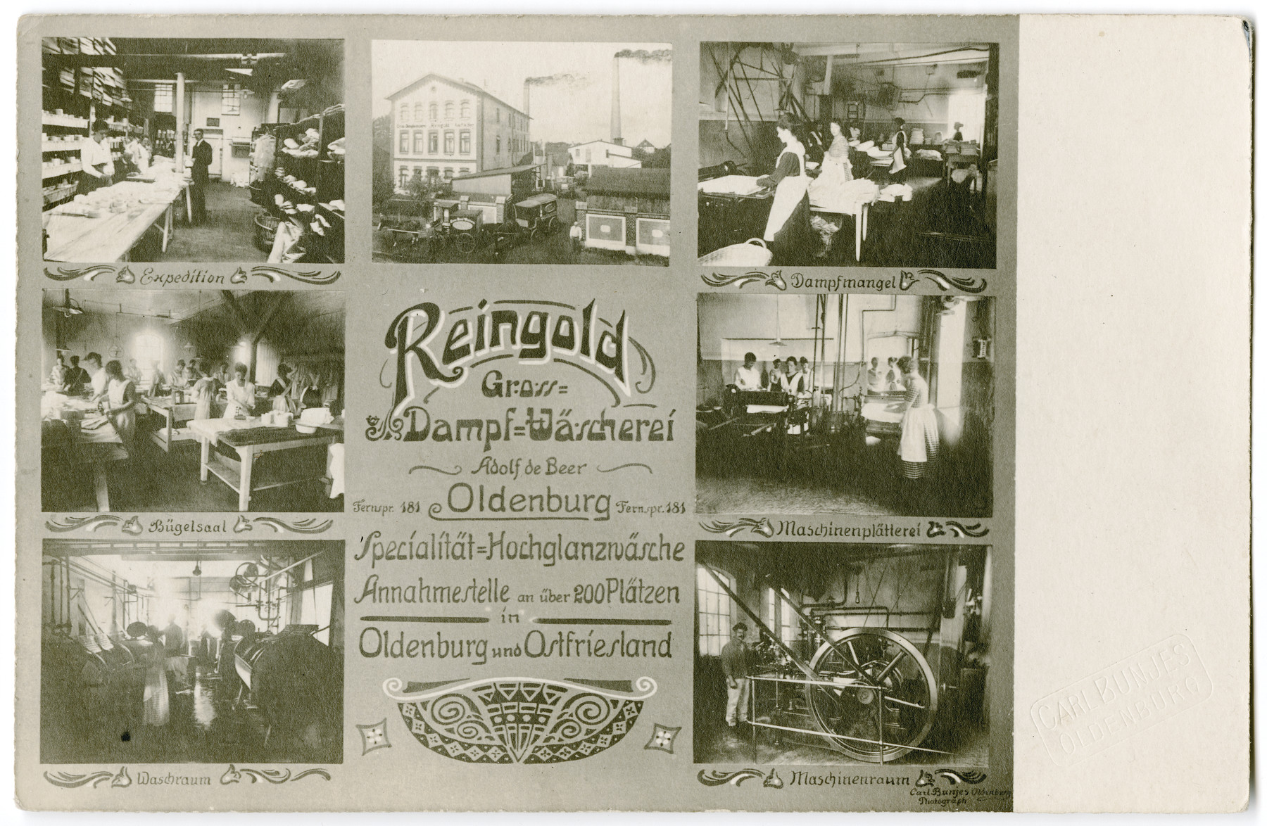 """Advertising postcard with photographs of Adolf de-Beer's laundry """"Reingold."""""""