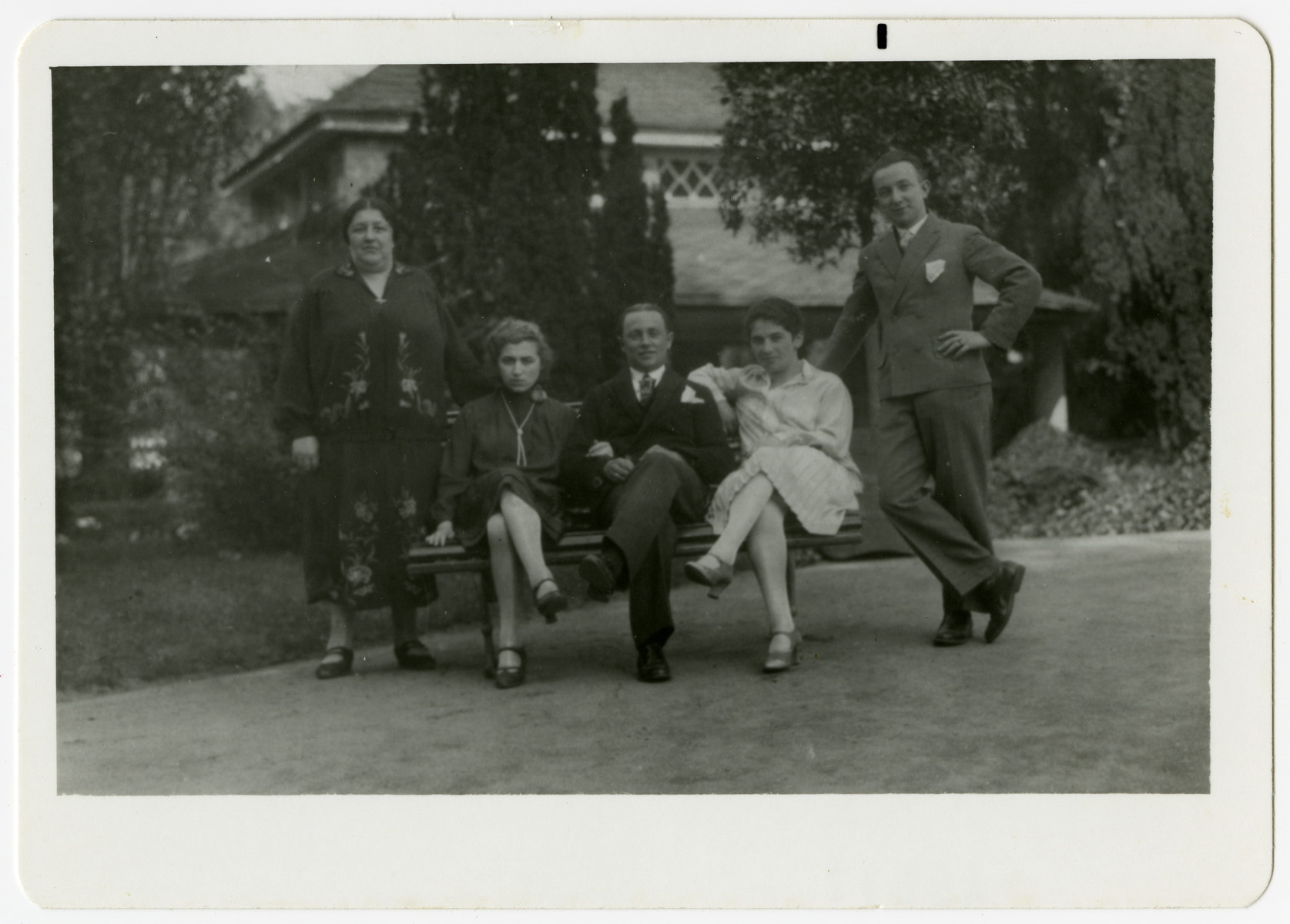 Members of  the Hilsenrath family pose on a park bench in Bad Kreuznach.  The woman standing is Anni's aunt Anna Knoll, who took care of her since she was young.  She perished in Riga.  The couple sitting next to her are Anni and Israel Hilsenrath,  The other couple is Felix Knoll ( Anna's son) and his wife