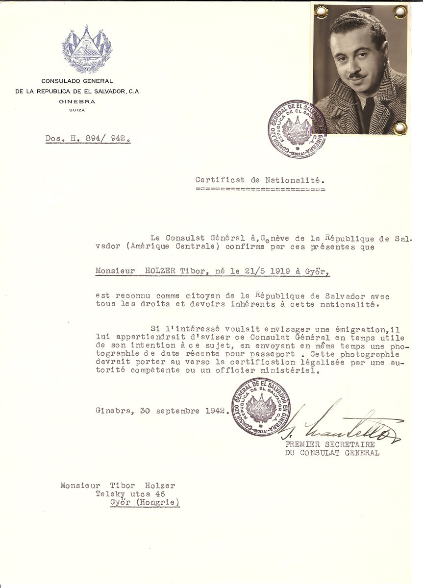 Unauthorized Salvadoran citizenship certificate issued to Tibor Holzer (b. May 21, 1919 in Gyor) by George Mandel-Mantello, First Secretary of the Salvadoran Consulate in Switzerland and sent to his residence in Gyor.