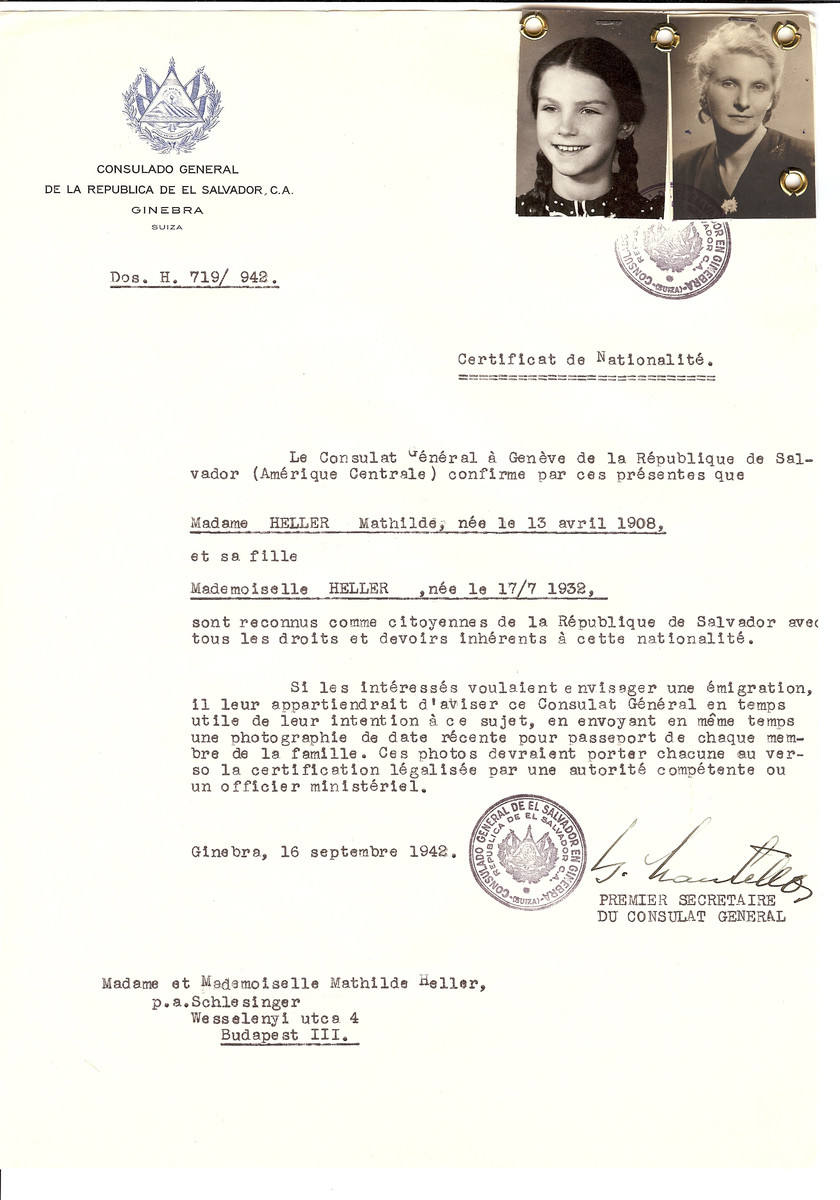 Unauthorized Salvadoran citizenship certificate issued to Mathilde Heller (b. April 13, 1908) and her daughter (b. July 17, 1932) by George Mandel-Mantello, First Secretary of the Salvadoran Consulate in Switzerland and sent to their residence in Budapest.