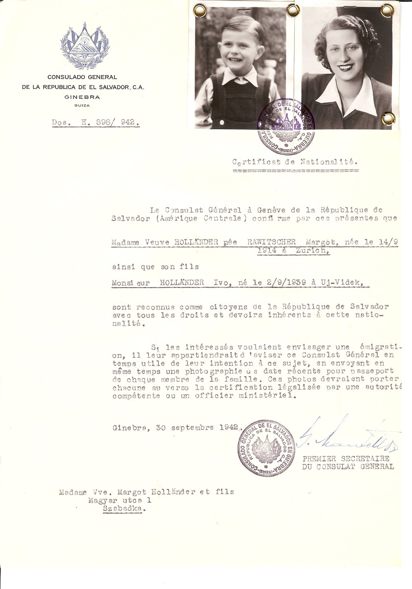 Unauthorized Salvadoran citizenship certificate issued to Margot (nee Rawitscher) Hollander (b. September 14, 1914 in Zurich) and her son Ivo Hollander (b. September 2, 1939 in Uj-Videk) by George Mandel-Mantello, First Secretary of the Salvadoran Consulate in Switzerland and sent to their residence in Szabadka.