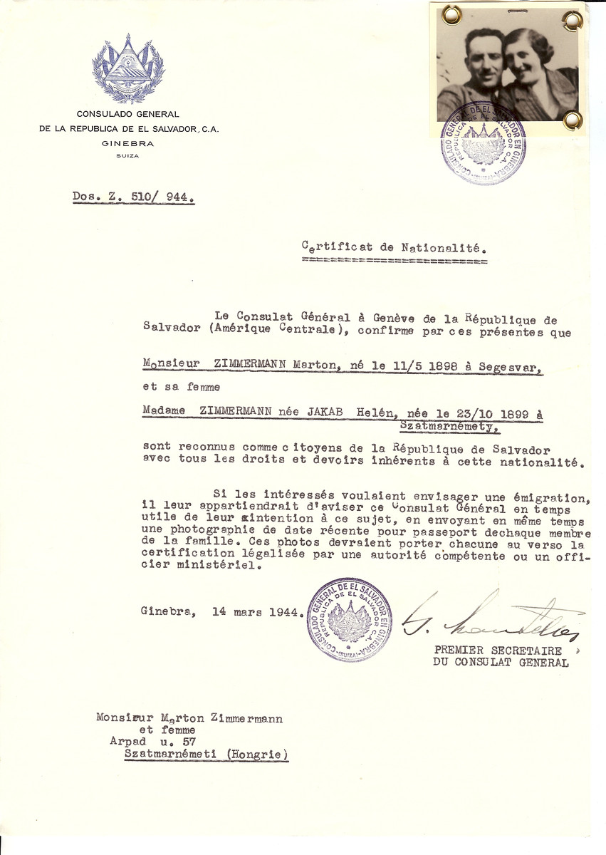 Unauthorized Salvadoran citizenship certificate issued to Marton Zimmermann (b. May 11, 1898 in Segeszvar) and his wife Helen (nee Jakab) Zimmermann (b. October 10, 1899 in Szatmarnemety) by George Mandel-Mantello, First Secretary of the Salvadoran Consulate in Switzerland and sent to their residence in Szatmarnemety.
