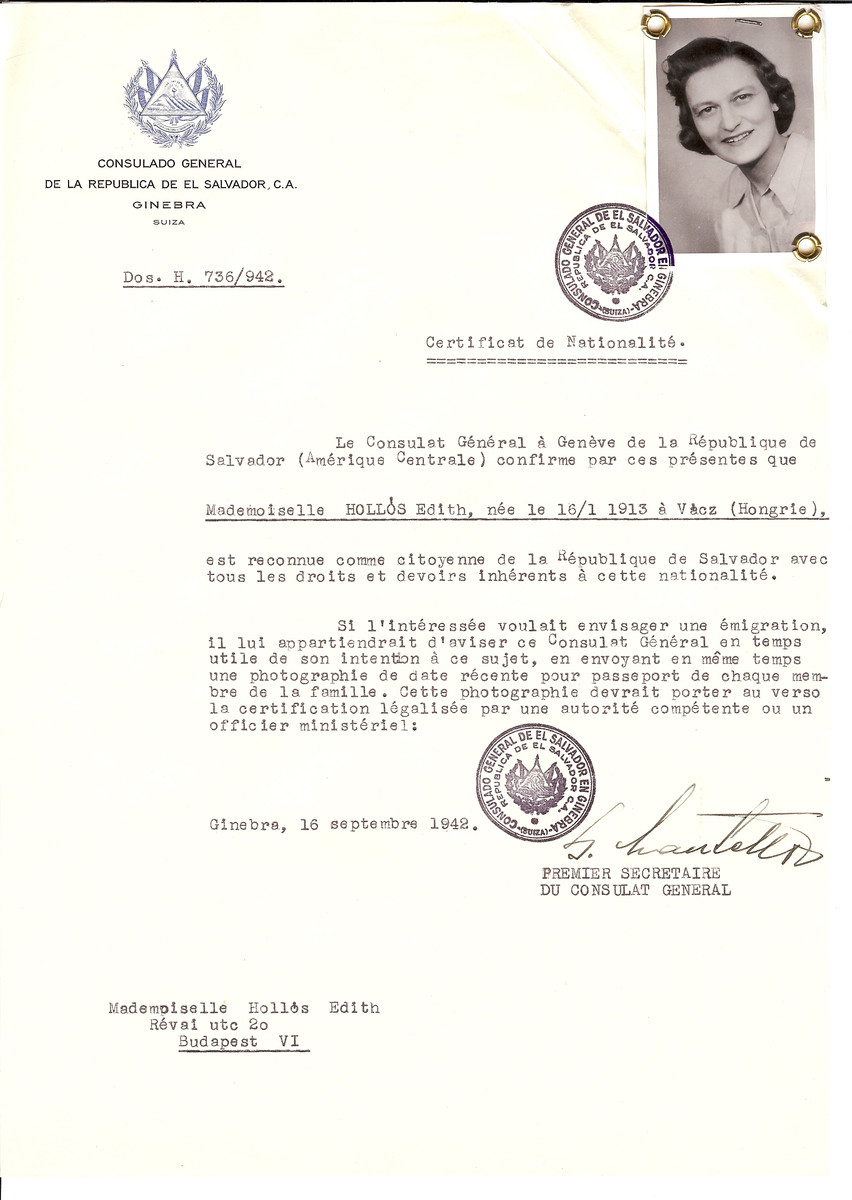 Unauthorized Salvadoran citizenship certificate issued to Edith Hollos (b. January 16, 1913 in Vacz) by George Mandel-Mantello, First Secretary of the Salvadoran Consulate in Switzerland and sent to her residence in Budapest.