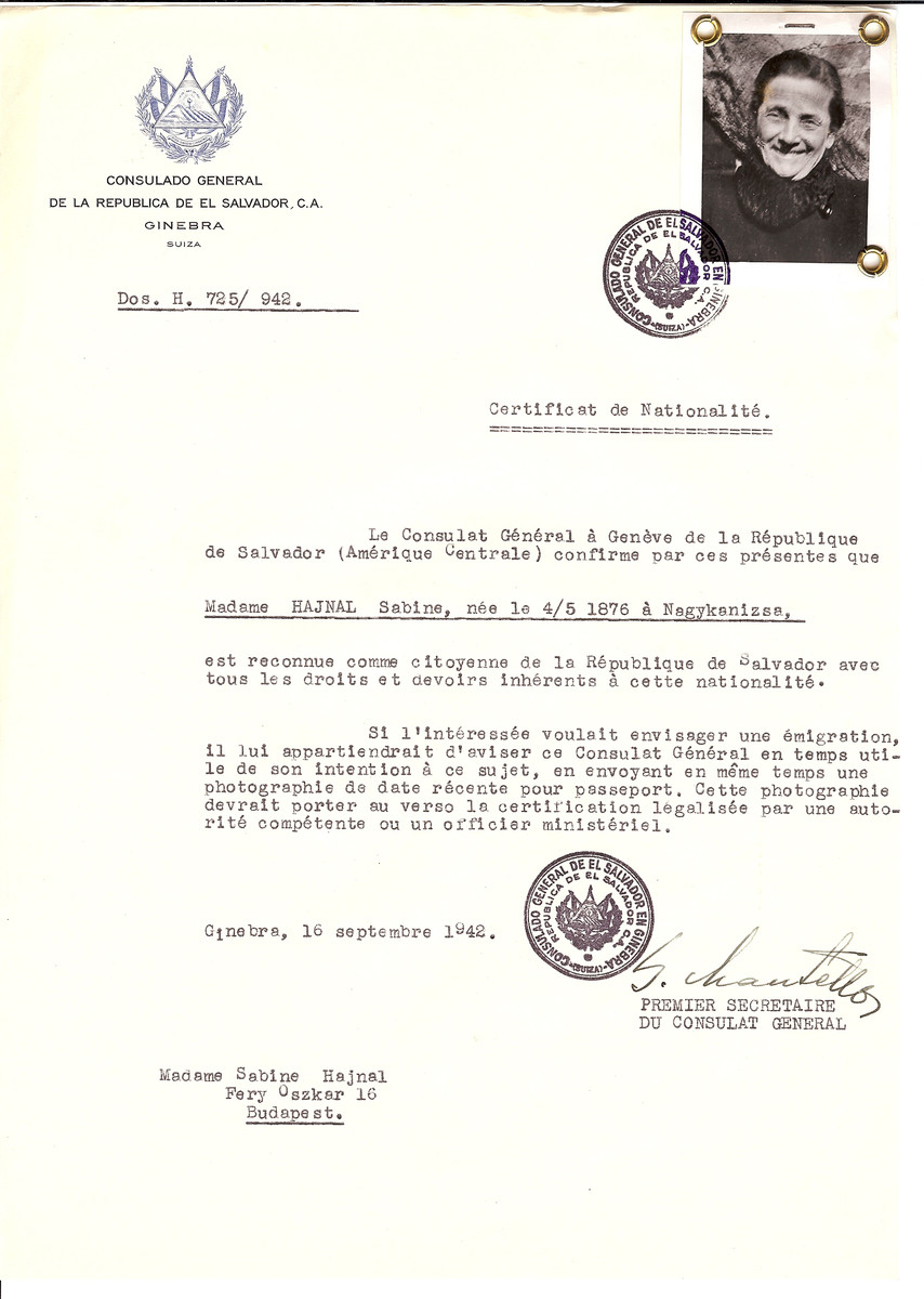 Unauthorized Salvadoran citizenship certificate issued to Sabine Hajnal (b. May 4, 1876 in Nagykanizsa) by George Mandel-Mantello, First Secretary of the Salvadoran Consulate in Switzerland and sent to her residence in Budapest.