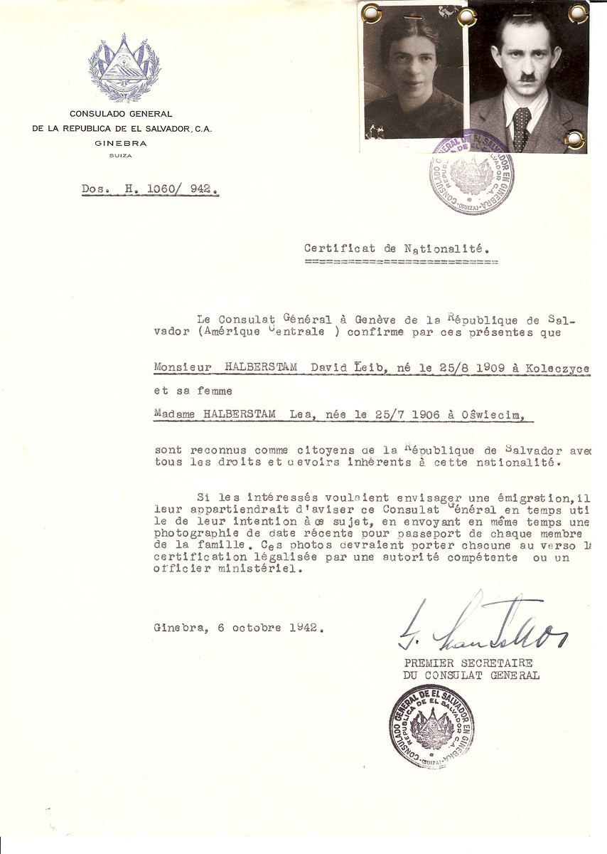 Unauthorized Salvadoran citizenship certificate issued to David Leib Halbertam (b. August 25, 1909 in Koleczyce) and his wife Lea Halberstam (b. July 25, 1906 in Oswiecim) by George Mandel-Mantello, First Secretary of the Salvadoran Consulate in Switzerland.