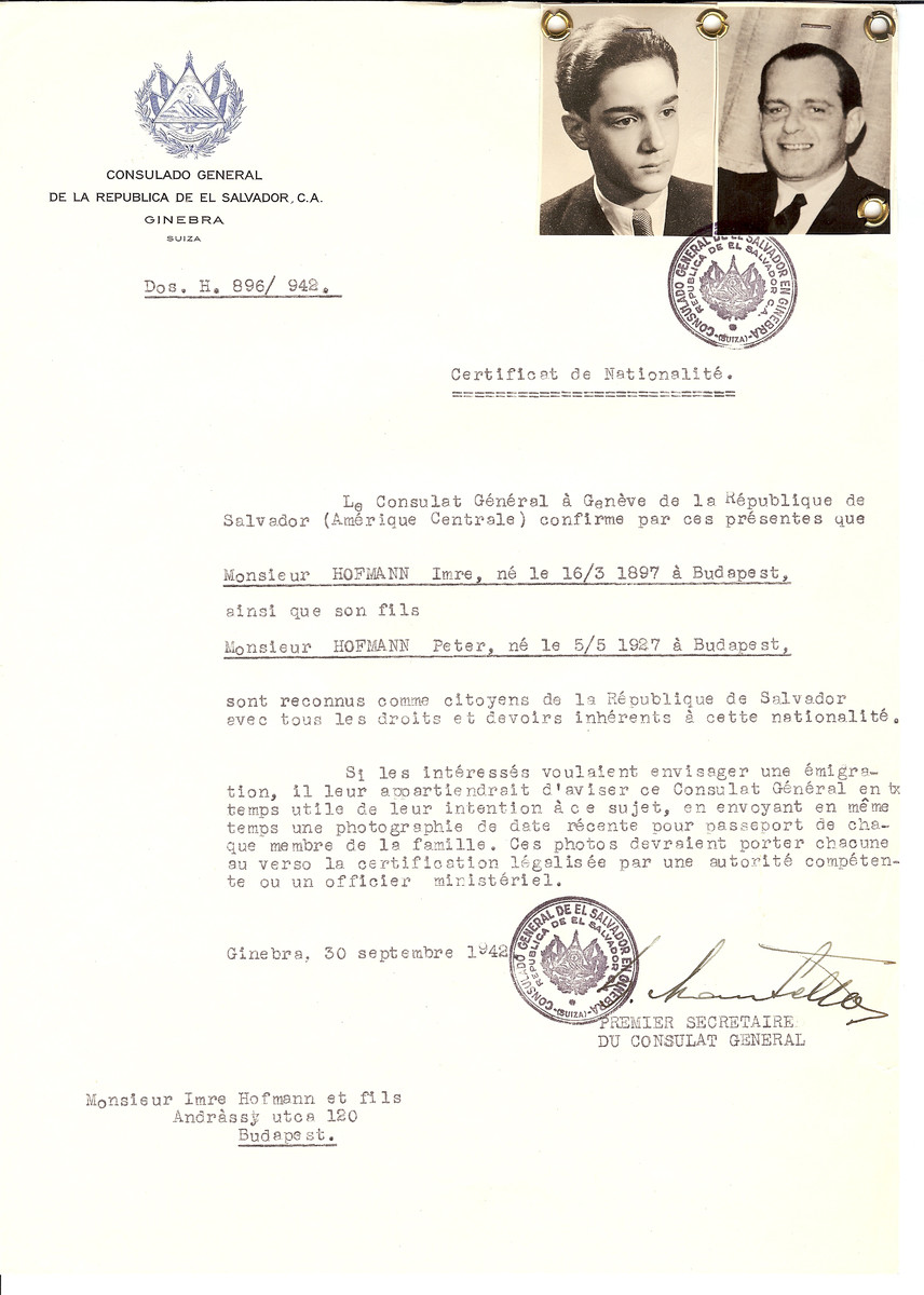 Unauthorized Salvadoran citizenship certificate issued to Imre Hofmann (b. March 16, 1897 in Budapest) and his son Peter Hofmann (b. May 5, 1927 in Budapest) by George Mandel-Mantello, First Secretary of the Salvadoran Consulate in Switzerland and sent to their residence in Budapest.