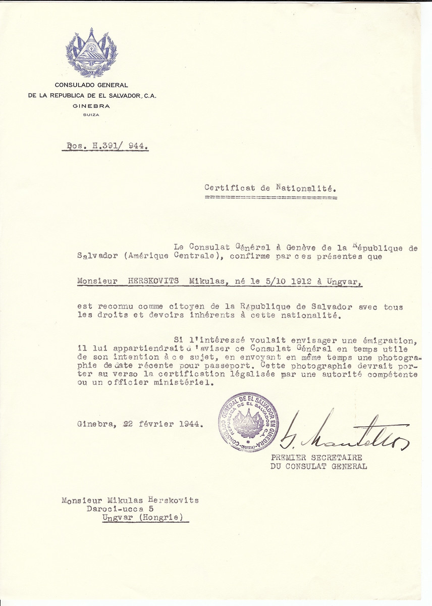 Unauthorized Salvadoran citizenship certificate issued to Mikulas Herskovits (b. October 5, 1912 in Ungvar) by George Mandel-Mantello, First Secretary of the Salvadoran Consulate in Switzerland and sent to his residence in Ungvar.