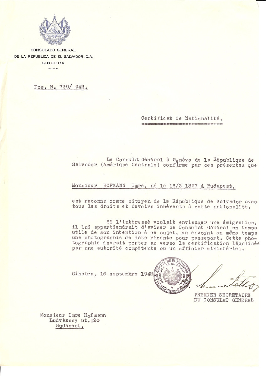 Unauthorized Salvadoran citizenship certificate issued to Imre Hofmann (b. March 16, 1897 in Budapest) by George Mandel-Mantello, First Secretary of the Salvadoran Consulate in Switzerland and sent to his residence in Budapest.