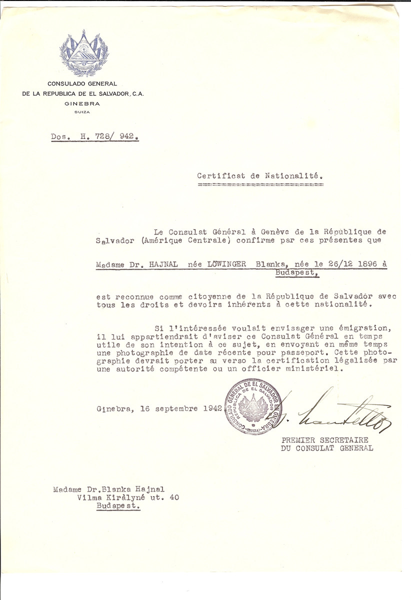 Unauthorized Salvadoran citizenship certificate issued to Dr. Blanka (nee Loewinger) Hajnal (b. December 26, 1896 in Budapest) by George Mandel-Mantello, First Secretary of the Salvadoran Consulate in Switzerland and sent to her residence in Budapest.