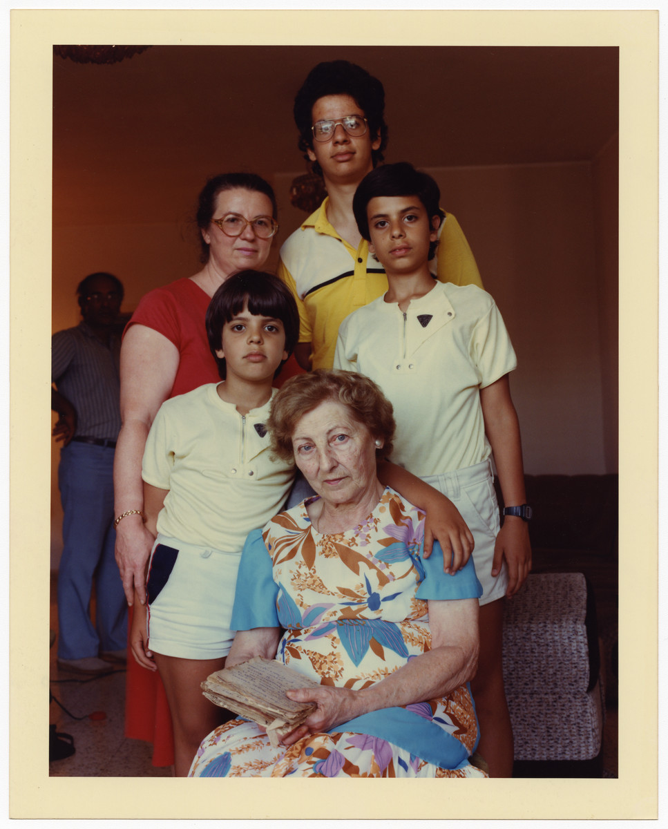 Group portrait of Irena Landau, her daughter and grandchildren.