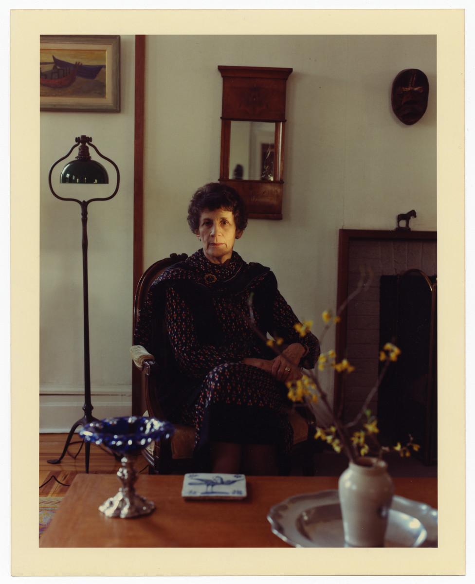 Postwar studio portrait of Dutch rescuer.Tina Strobos.