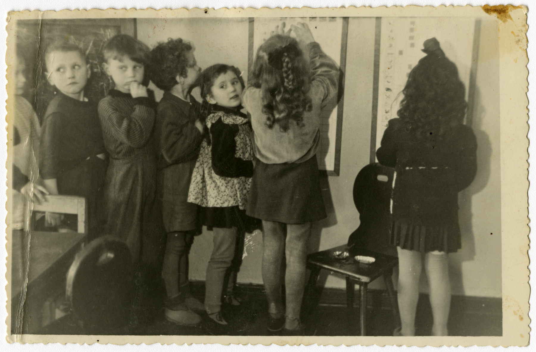 Children of a Jewish kindergarten in Szczecin after the war.   Pictured first from right may be Dziunia Gorysznik.