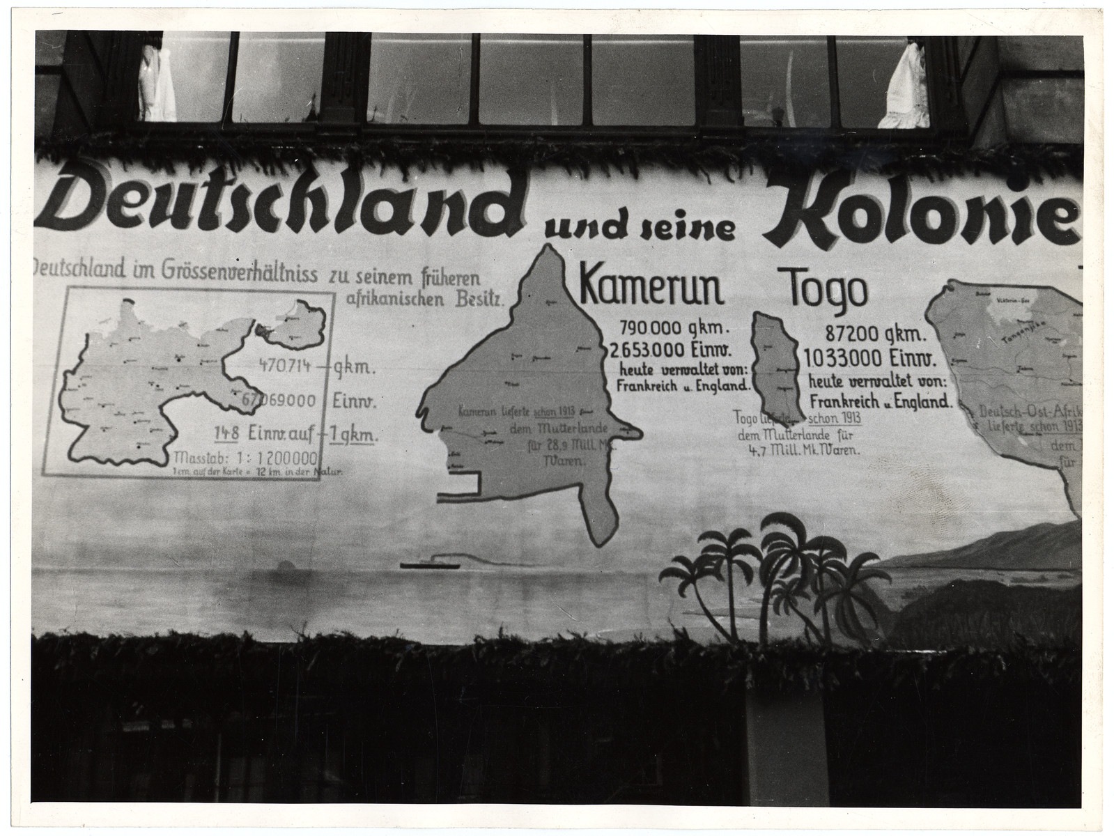 A Nazi propaganda poster boasts about German colonies in Africa, specifically Cameroon and Togo.