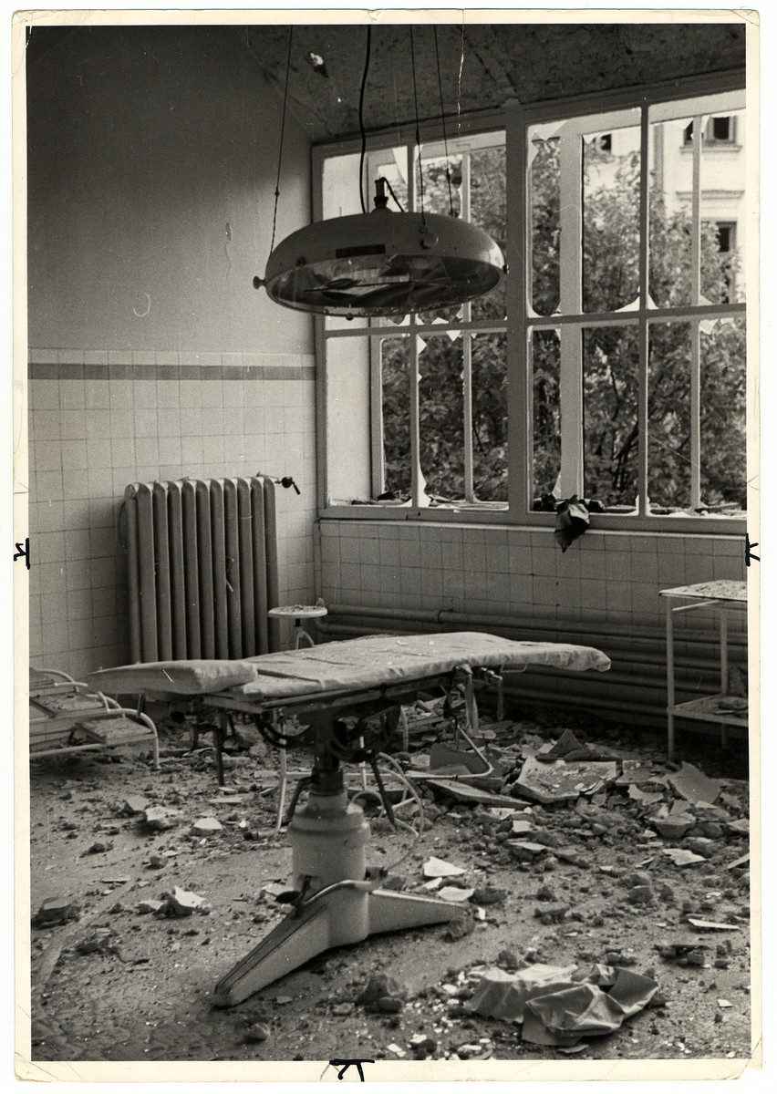 View of an operating table in the bombed out maternity ward of the Catholic Hospital of the Transfiguration (one of Warsaw's largest hospitals).