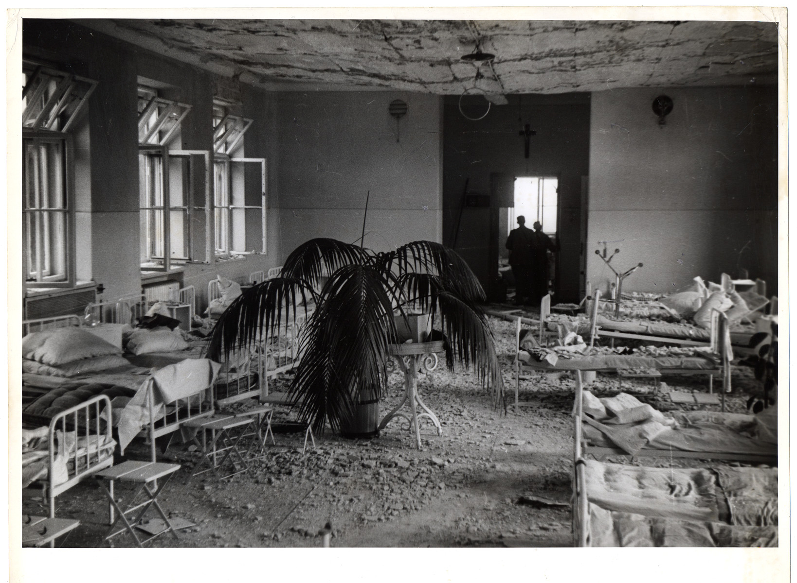 Interior view of the destroyed Catholic Hospital of the Transfiguration, one of Warsaw's largest hospitals.
