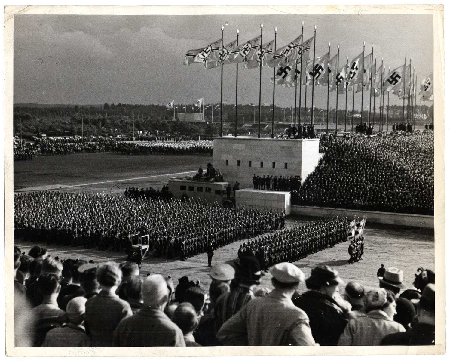 German soldiers parade in formation during war games at the Nazi Party Congress in Nuremberg.