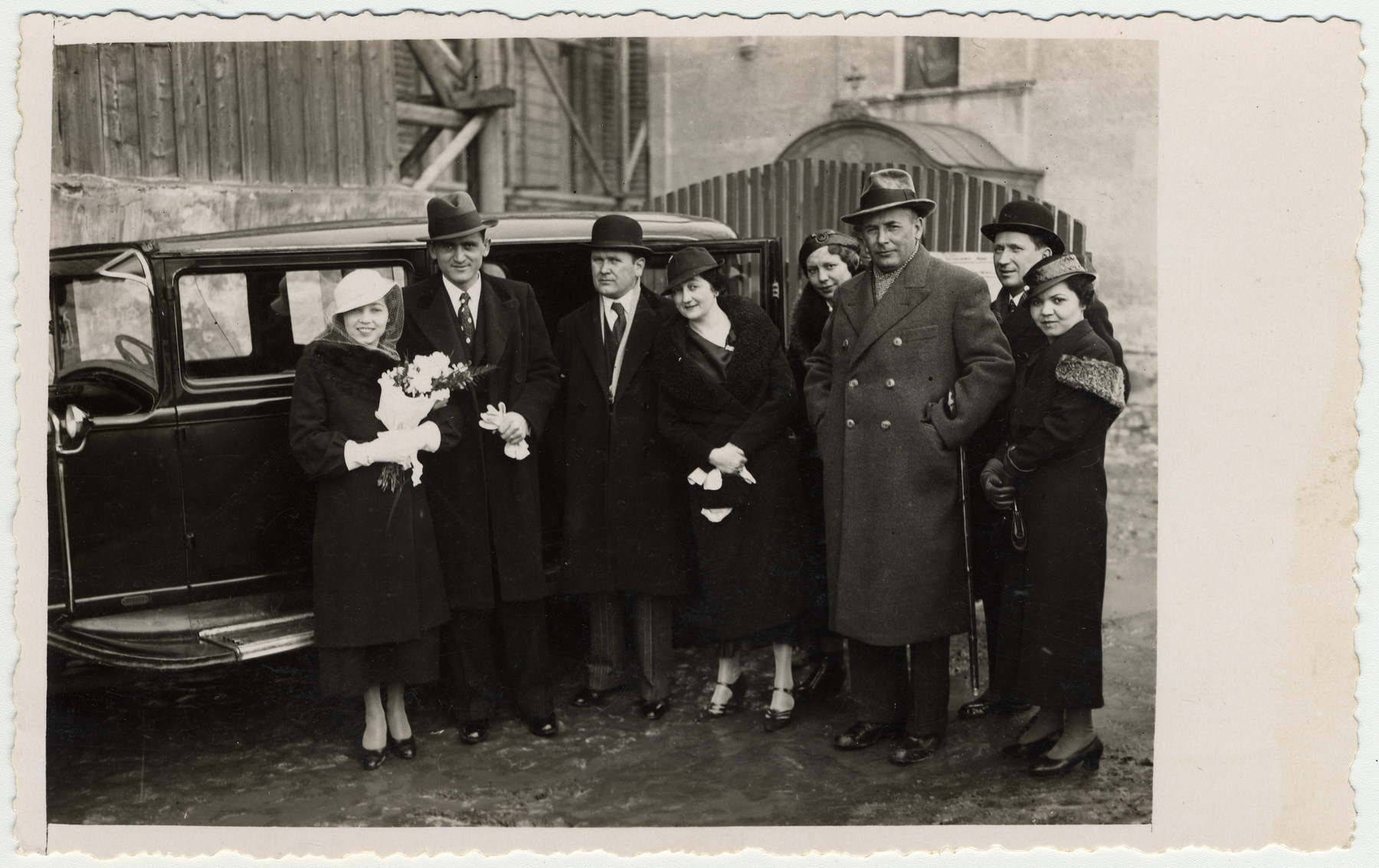 Giustina (Papo) and Jevrem Dragojevic on their wedding day with extended members of the Papo and Dragojevic families.
