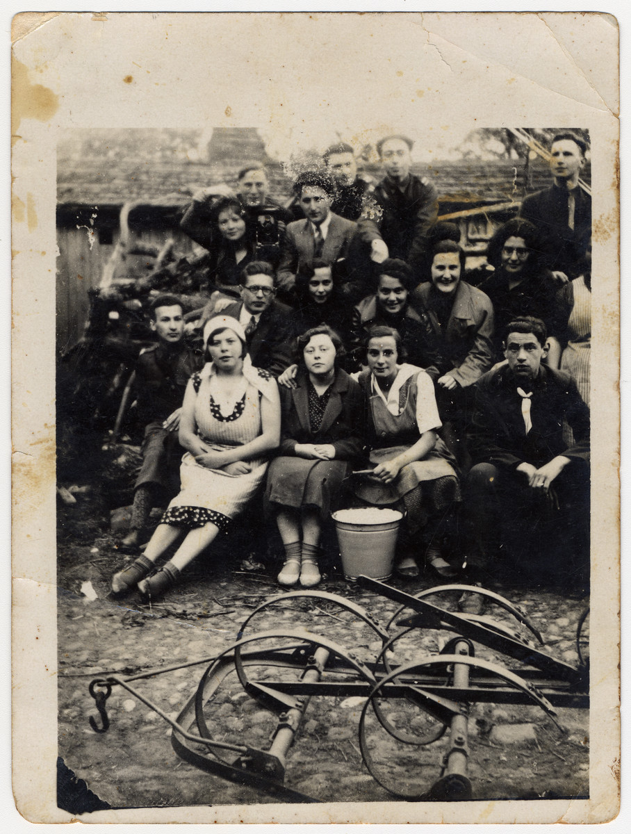Group portrait of Latvian Jewish youth in a Betar hachshara.