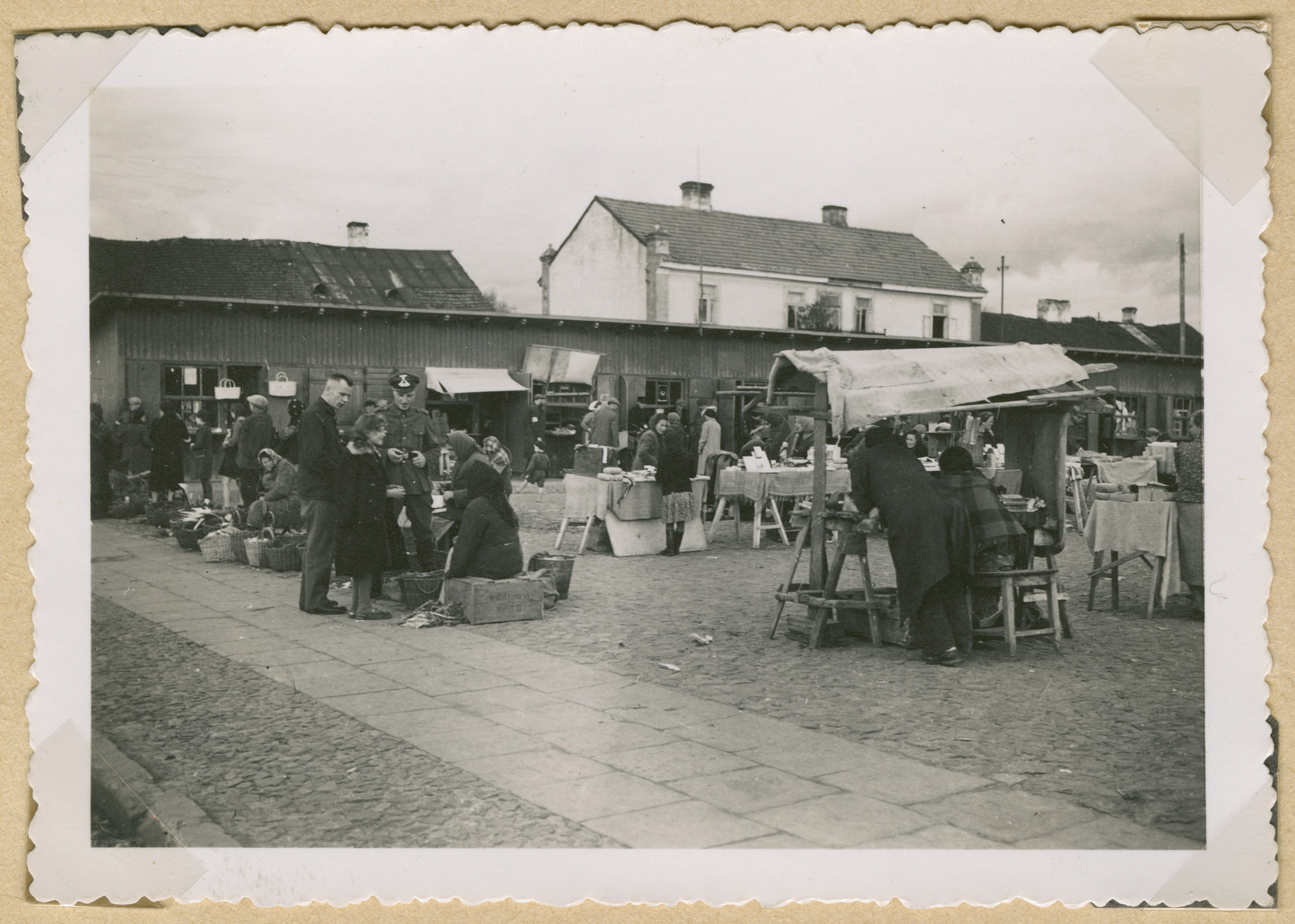 View of an outdoor market in an unidentified Polish town [probably in the Lublin district.]