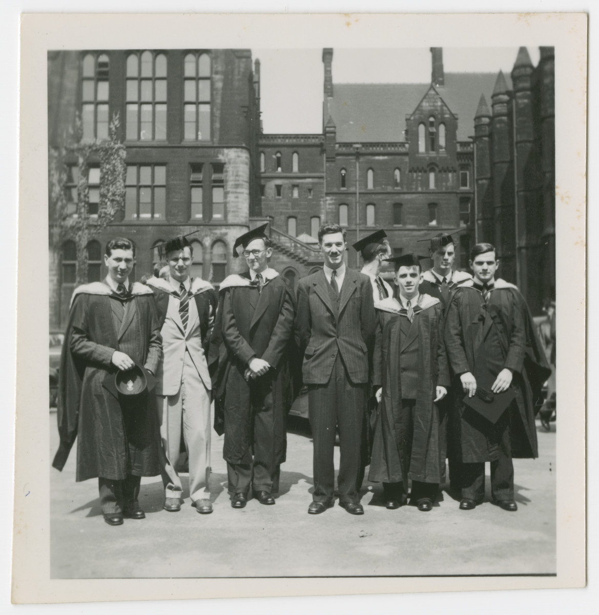 Manfred Gans (second from the left) graduates from the College of Technology in Manchester.
