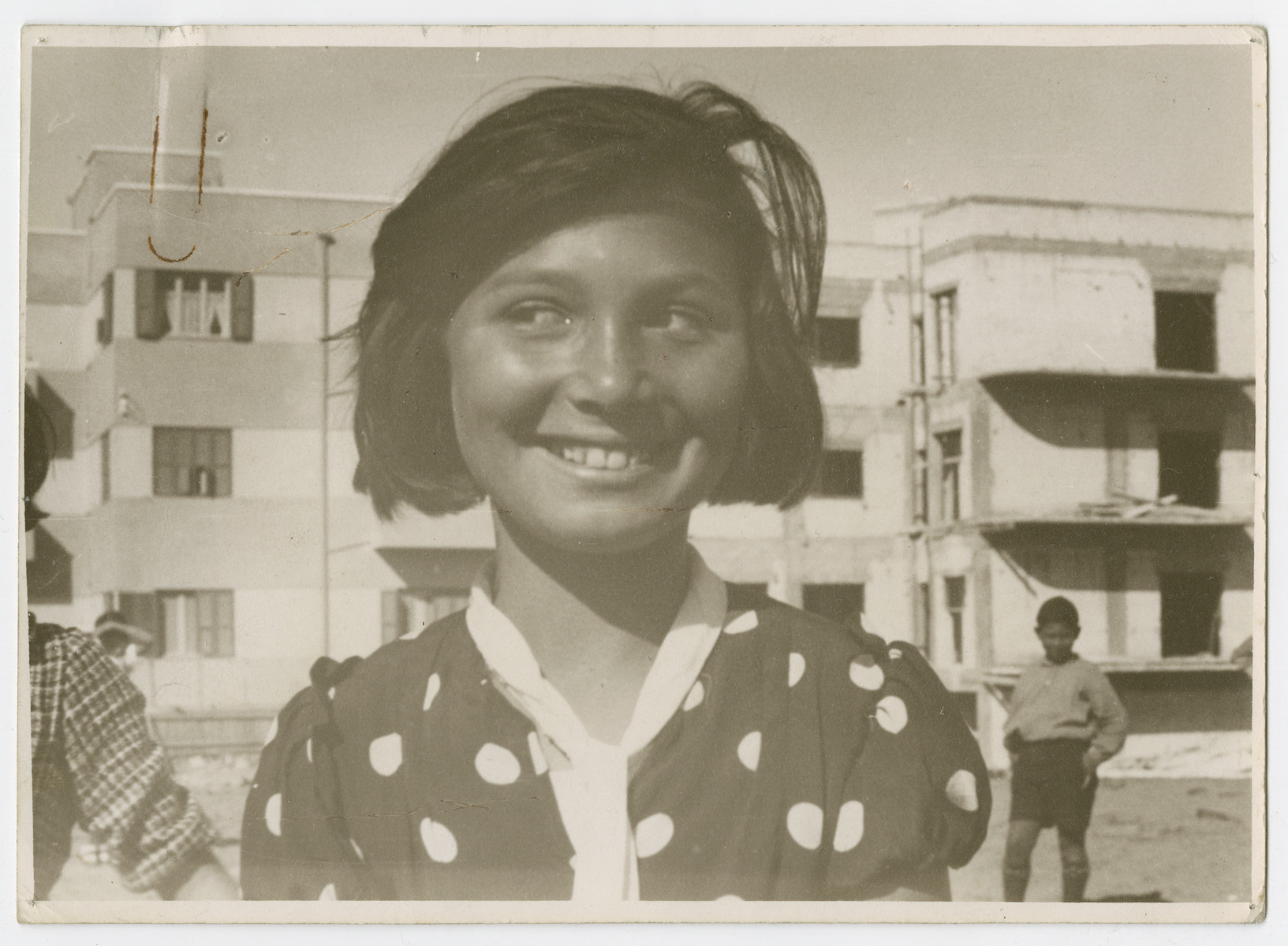 "Portrait of a Jewish teenage girl in Palestine.  Photograph is used on page 272 of Robert Gessner's ""Some of My Best Friends are Jews."""
