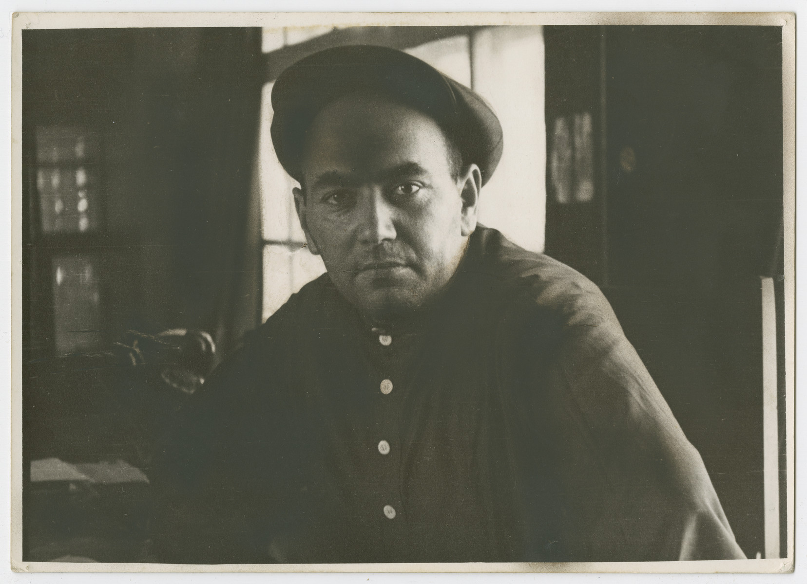 "Close-up portrait of a Soviet Jewish worker.  Photograph is used on page 341 of Robert Gessner's ""Some of My Best Friends are Jews."" The pencil inscription on the back of the photograph reads, ""Russian workers."""
