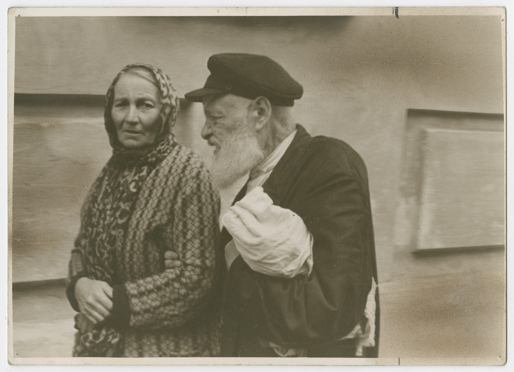 "Close-up portrait of an older Jewish couple in the Soviet Union.  Photograph is used on page 297 of Robert Gessner's ""Some of My Best Friends are Jews."""